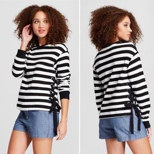 NWOT A New Day Stripe side lace pullover